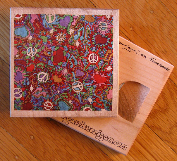 peace, love, & music coaster bottle opener