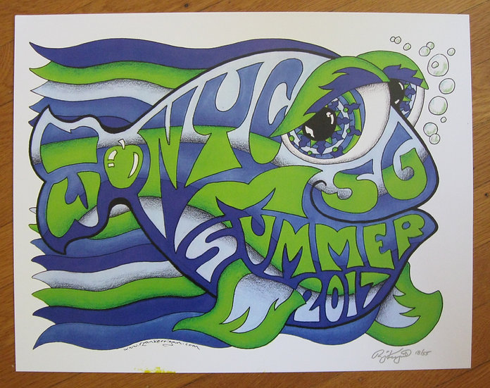 2017 new york city summer happy fish poster