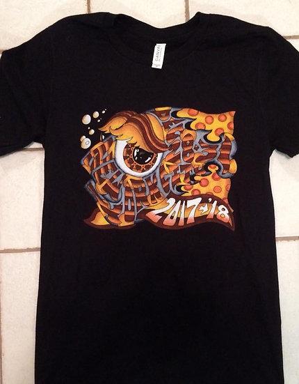 2017 2018 new york city new years run happy fish shirt on black