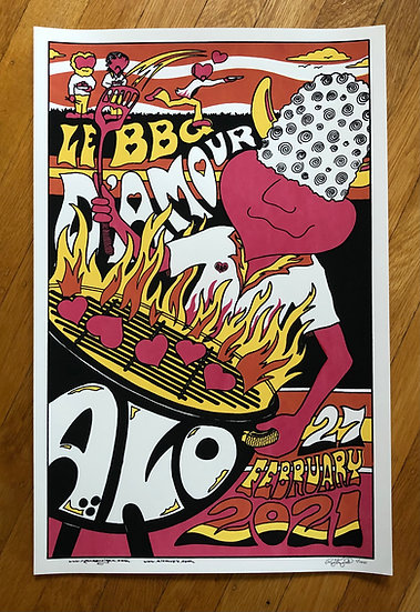 ALO le BBQ d'amour 2/27/21 silkscreened poster