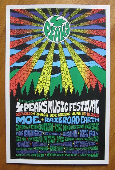 4 peaks music festival silkscreen print ~june 2017