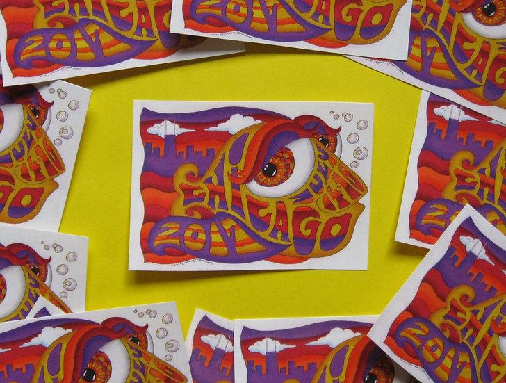 2017 chicago happy fish sticker