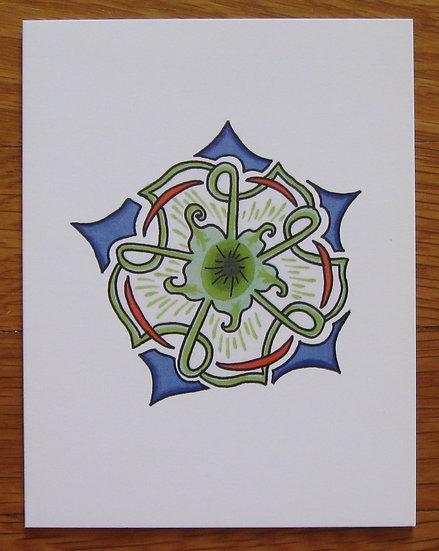 greeting card ~ mandala bluegreen star