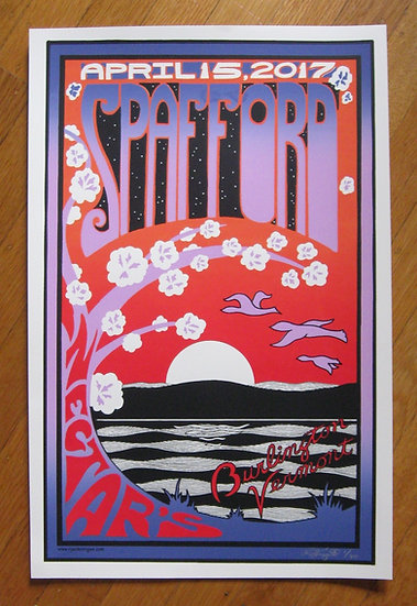 spafford ~ burlington vermont april 15, 2017 silkscreened poster