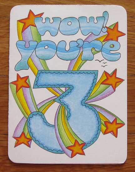 greeting card ~ wow! you're 3
