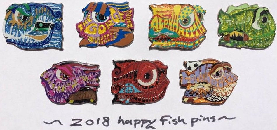 2018 complete set of 7 happy fish pins