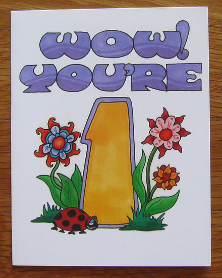 greeting card ~ wow! you're 1