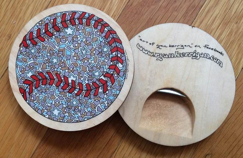 baseball coaster bottle opener