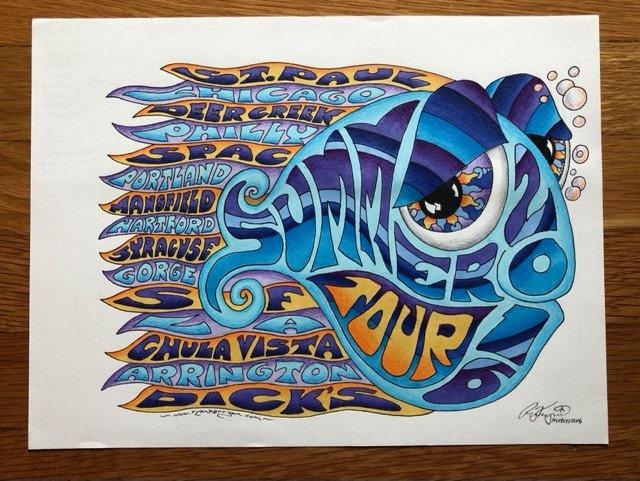 ORIGINAL ART: 2016 summer and fall tour happy fish