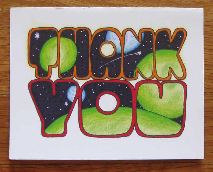greeting card ~ thank you planets