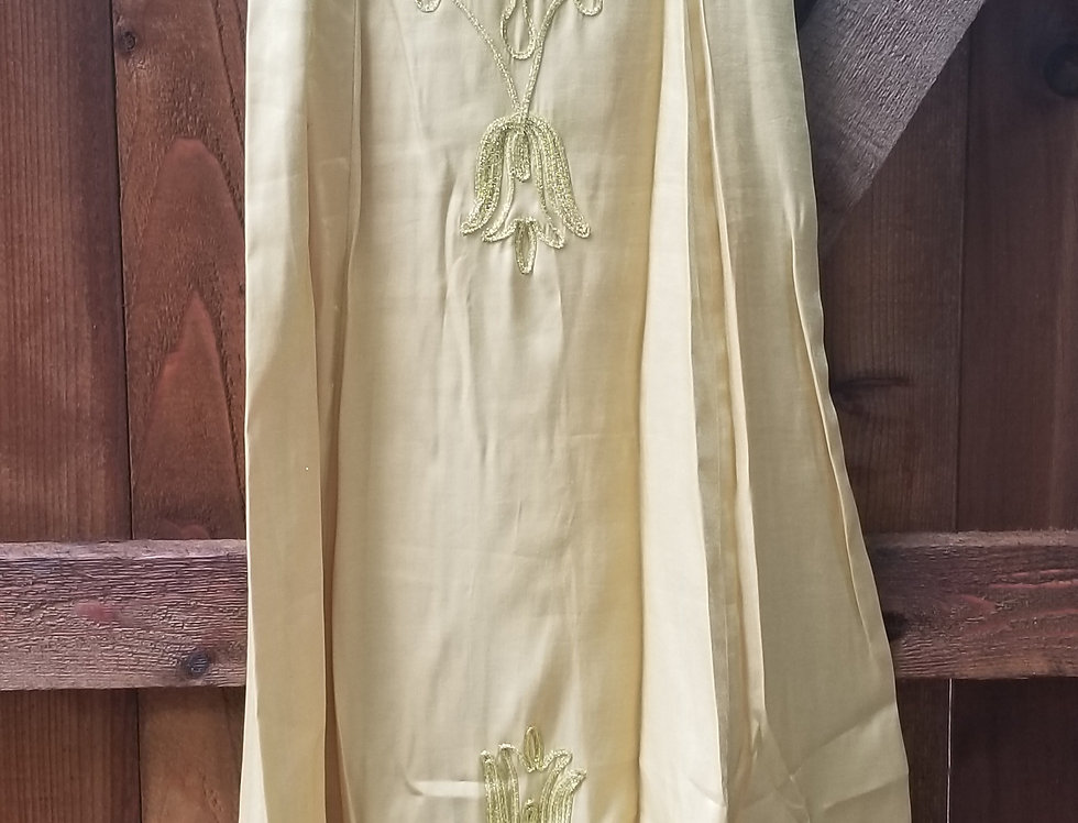 Gold Sleeveless Embroidered Dress