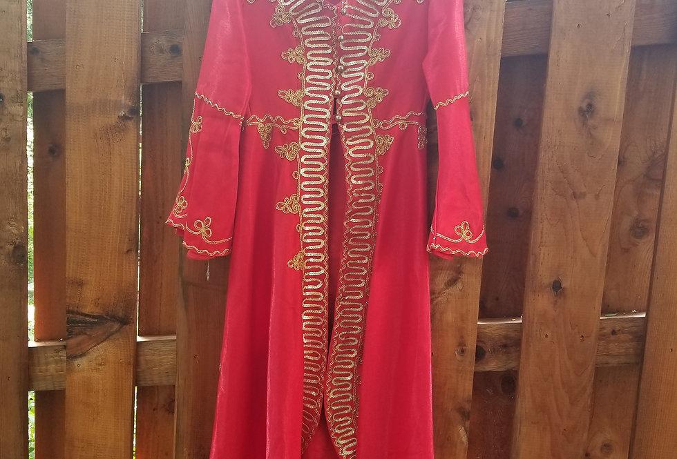 Persian Classical Costume Set: Red-Gold Coat, Veil, Pants, Tiara