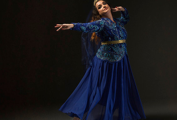 Blue and Gold Lace Persian Dance Costume-Short Coat and Skirt