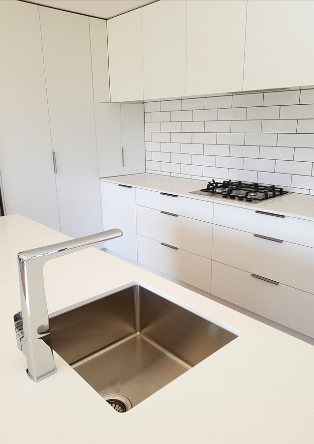 Silestone benchtop with undermount stainless sink