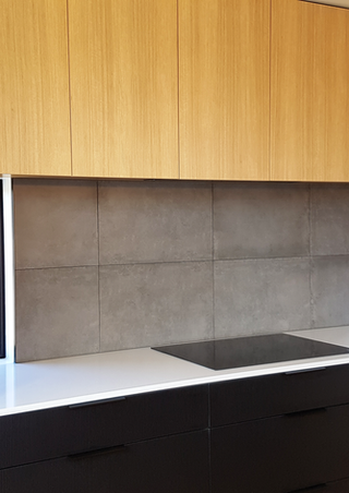 Sleek black kitchen install