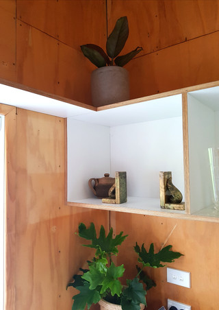 Open overhead kitchen shelf manufactured in New Plymouth