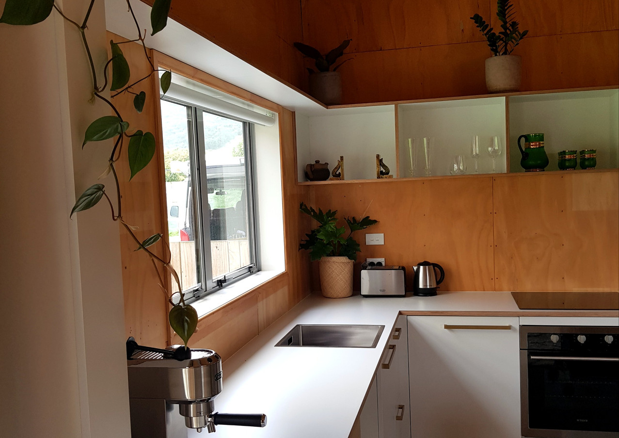 Earthy ply timber kitchen