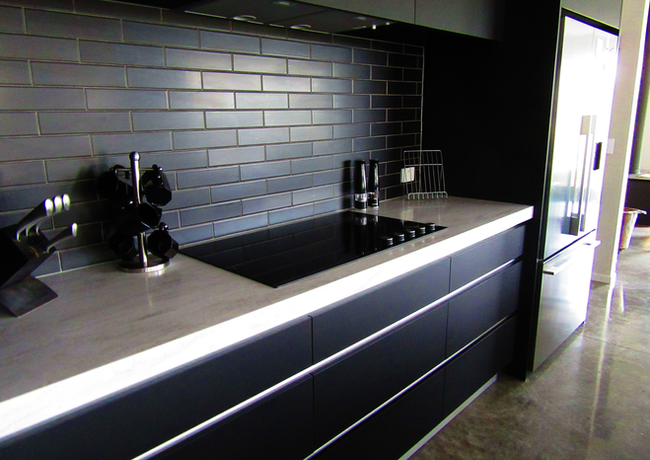 Handleless kitchen cabinetry