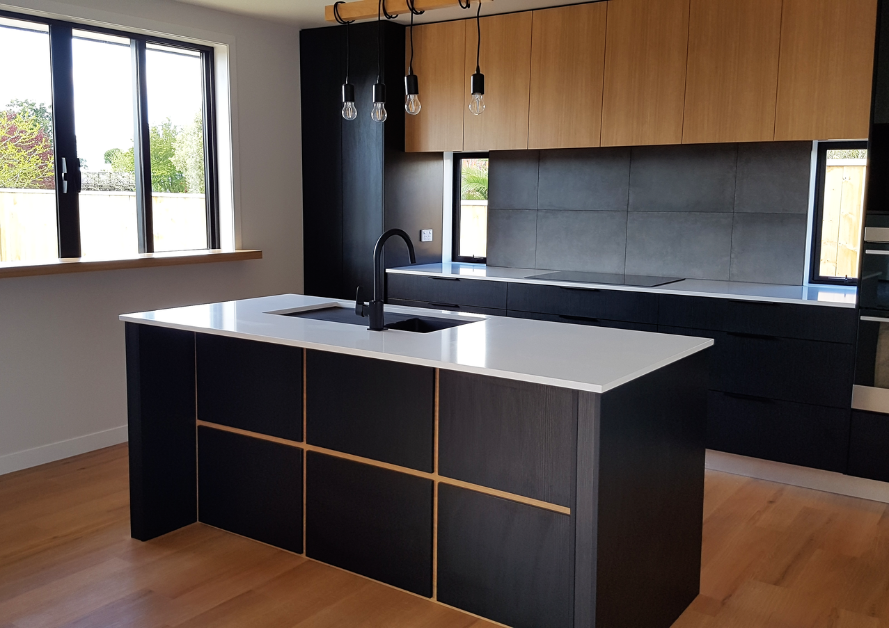 Black and timber kitchen New Plymouth