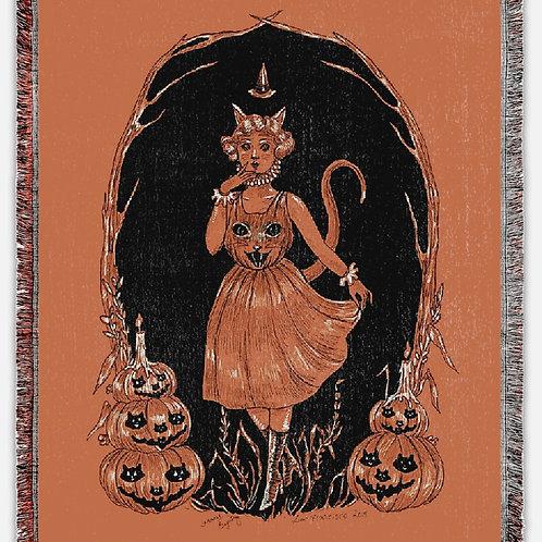 """Halloween Harvest Greetings"" Woven Tapestry Blanket"