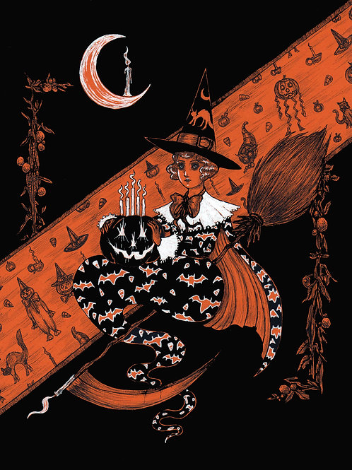 When witches fly and pumpkins are seen print