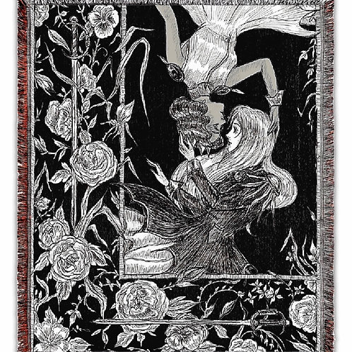 """""""Utena and Anthy"""" Woven Tapestry Blanket"""