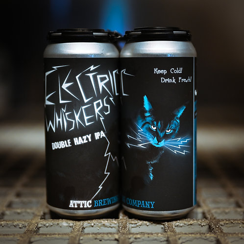 Electric Whiskers Hazy Double IPA 16oz can 4 PACK