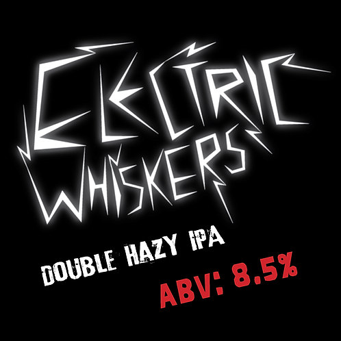 Electric Whiskers Double Hazy IPA 16oz can