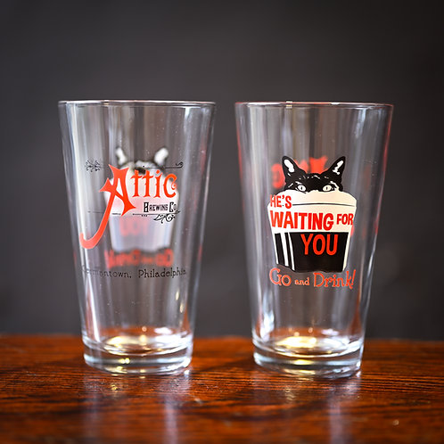 Attic Brewing Pint Glass 16oz, Red and Black Lettering