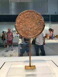 The disk of Faistos, at the Archeological Museum of Heraklion, Crete, Greece - July 2018