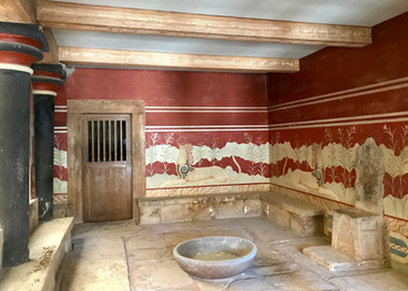 The Hall of the Throne, at the Minonan Palace of Knossos (1,500 BC), Crete, Greece - July 2018