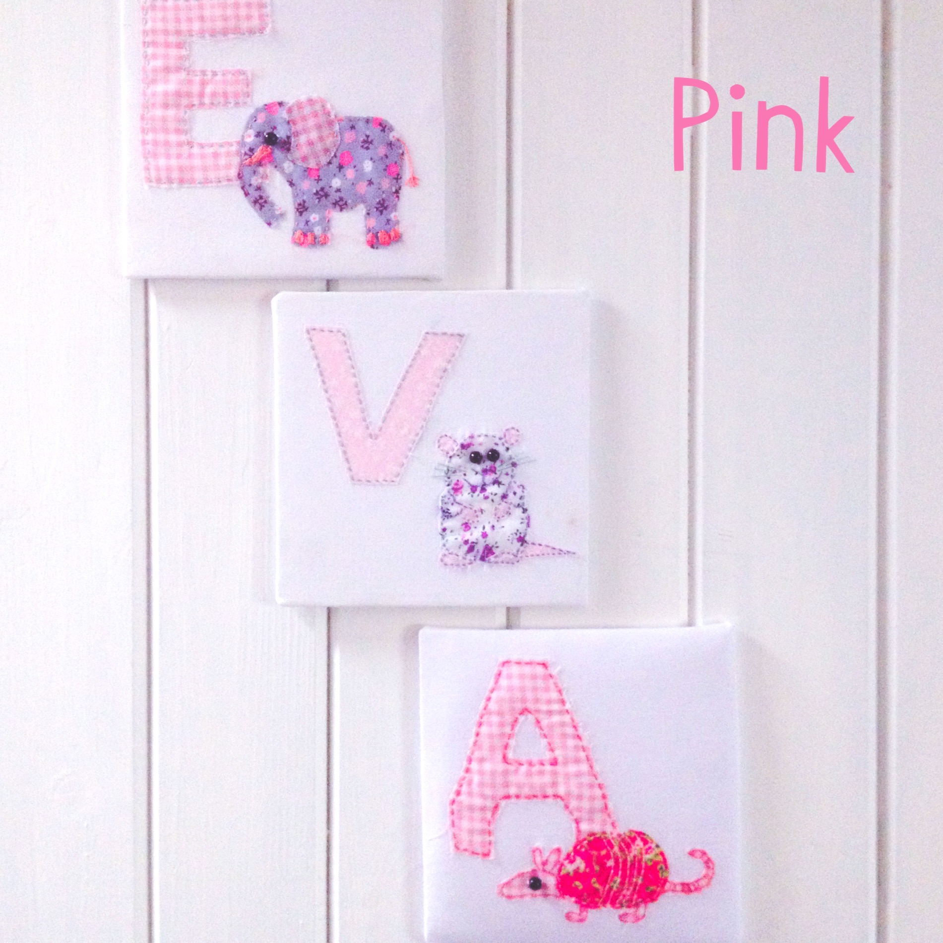 Fabric Animal Alphabet Name in Pink