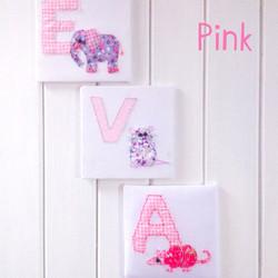 Fabric Animal Alphabet Name in Pink