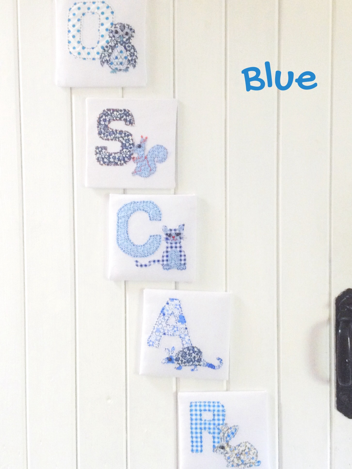 Fabric Animal Alphabet Name in Blue