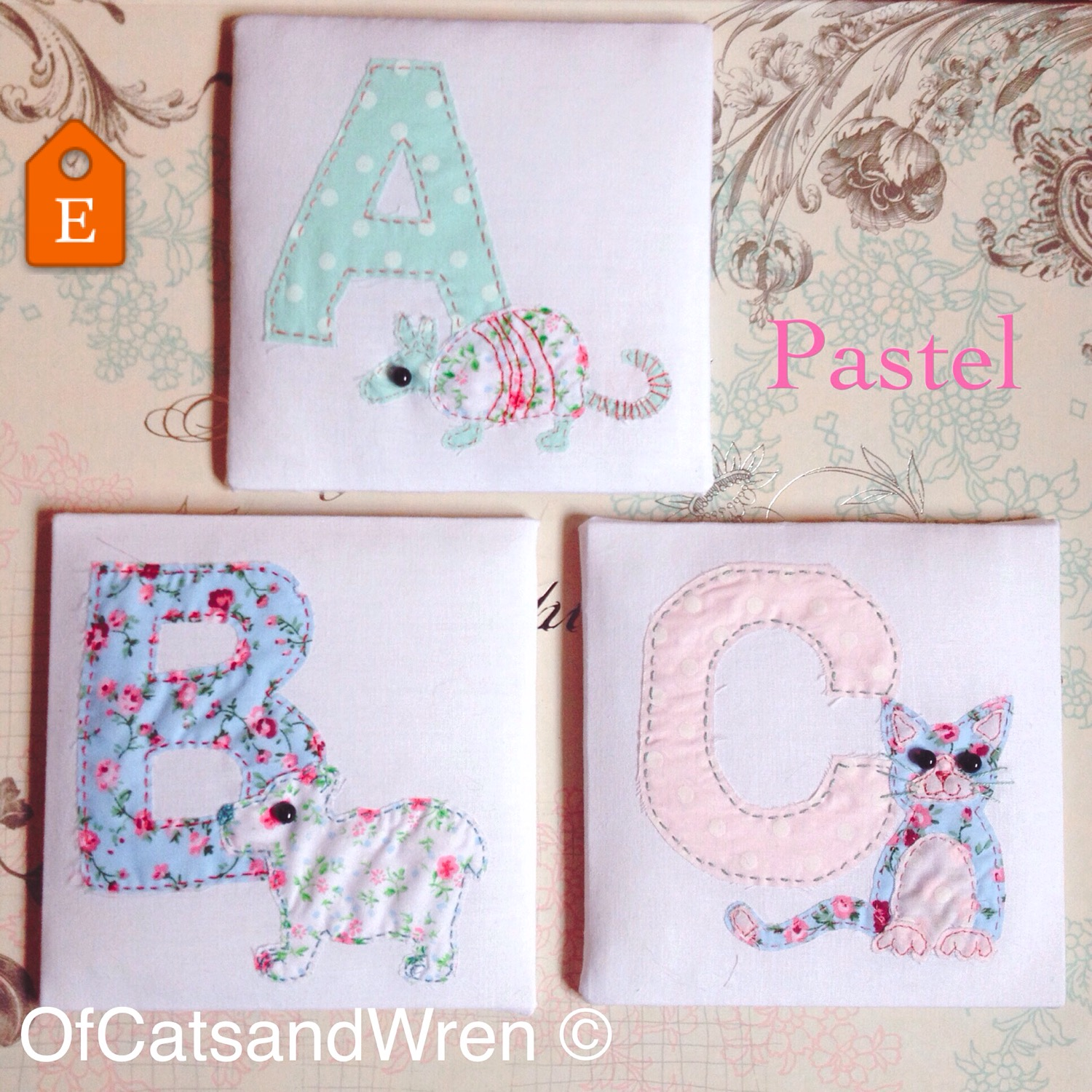 Fabric Animal Alphabet - Pastel