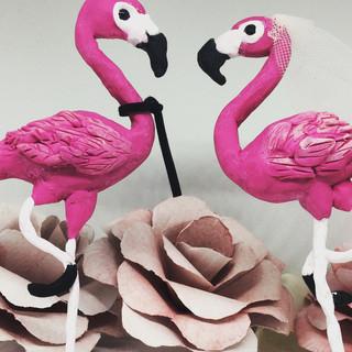 Flamingo Wedding Cake Toppers