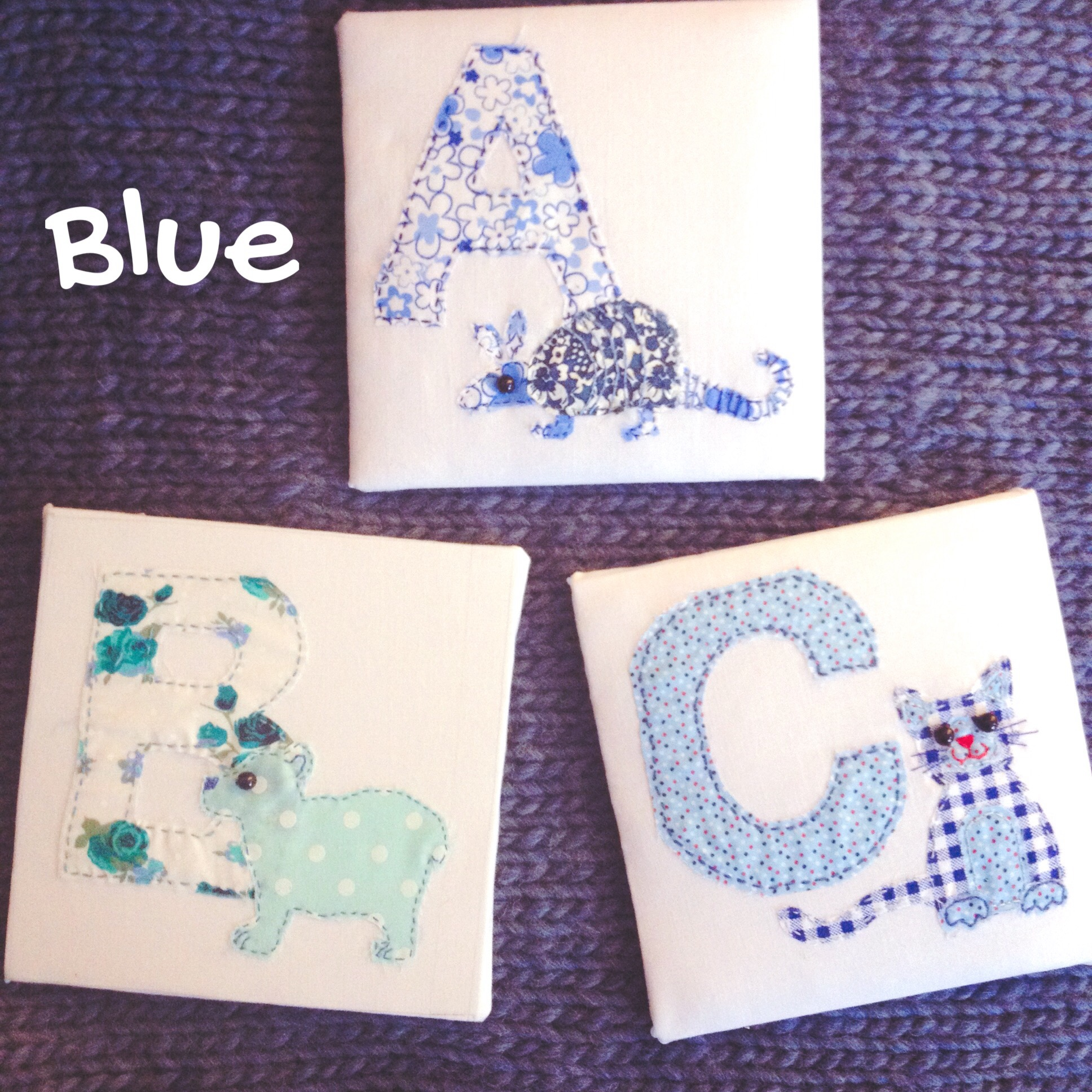 Fabric Animal Alphabet - Blue