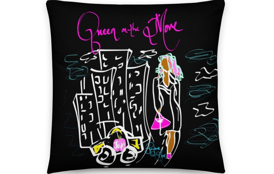 """Queen on the Move"" Pink Panther Pillow"