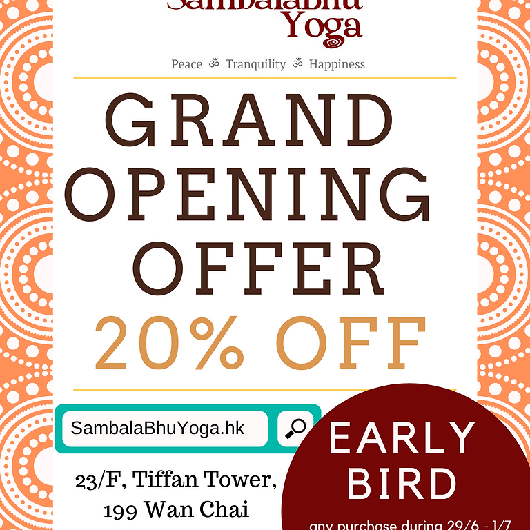 Grand Opening Offer 20% OFF (Early Bird: Any purchase during 29/6-1/7 GET EXTRA 5% OFF)