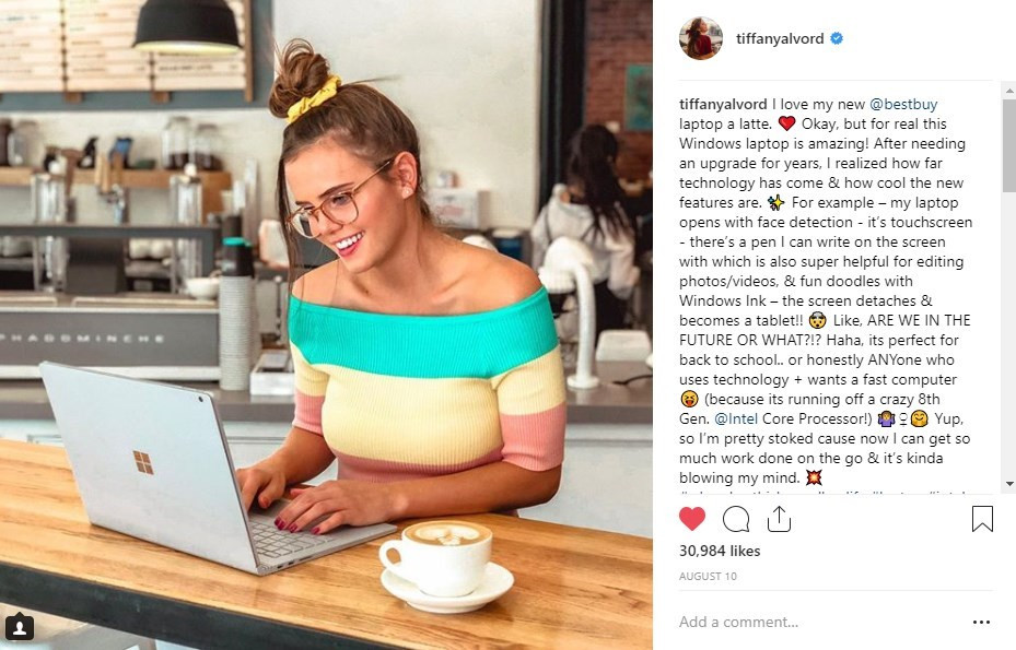 Intel / Best Buy Tiffany Alvord Social Media Influencer Campaign