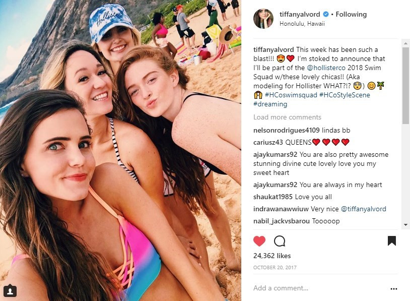 Hollister #HCoswimsquad Tiffany Alvord Social Media Influencer Campaign