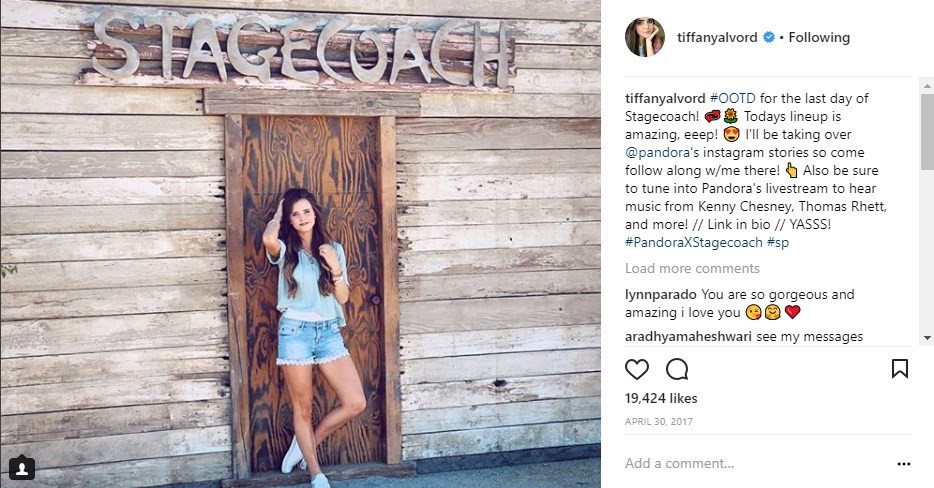 Pandora - Stagecoach Tiffany Alvord Social Media Influencer Campaign