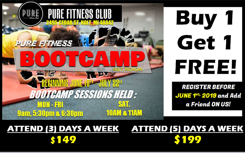 PURE FITNESS BOOTCAMP AD BUY ONE GET ONE