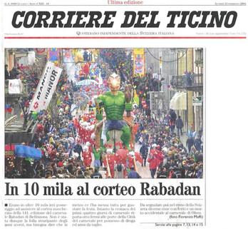 Carnevale Bellinzona corteo 2004 articol