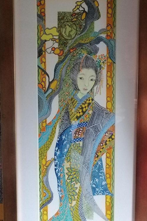 Geisha in Blue & Yellow