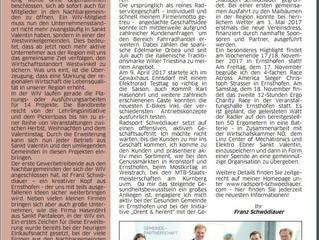Radsport Schwödiauer in der neuen Ausgabe der St. Valentiner Stadtzeitung