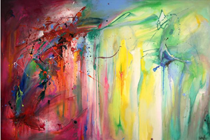 Keywords:  acrylic painting splatter abstracexpressionism colorful contrast dark energy abstract intense