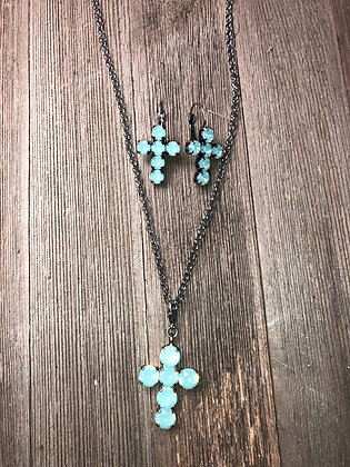 Cross Necklace and Earrings Set