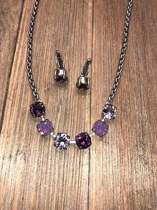 Purple 6 Crystal Necklace with Earrings
