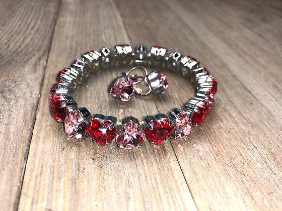 Heart Crystal Bracelet and Earrings